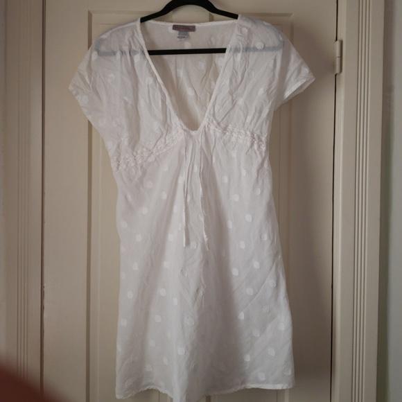 ed62023394 peppermint bay Swim | White 100 Cotton Polka Dot Cover Up Dress Lxl ...